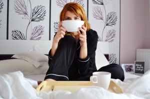 adult bed bedroom breakfast